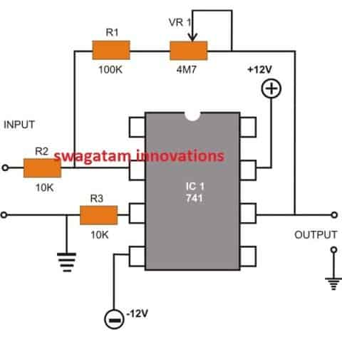 Op amp Inverting DC Amplifier circuit