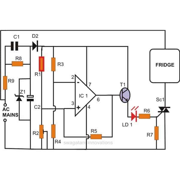 Simple Refrigerator Thermostat Circuit
