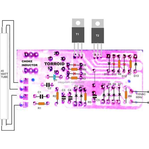 40 watt electronic ballast PCB layout component placement