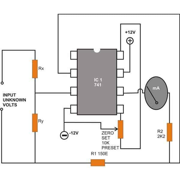 DC Voltmeter Circuit using IC 741