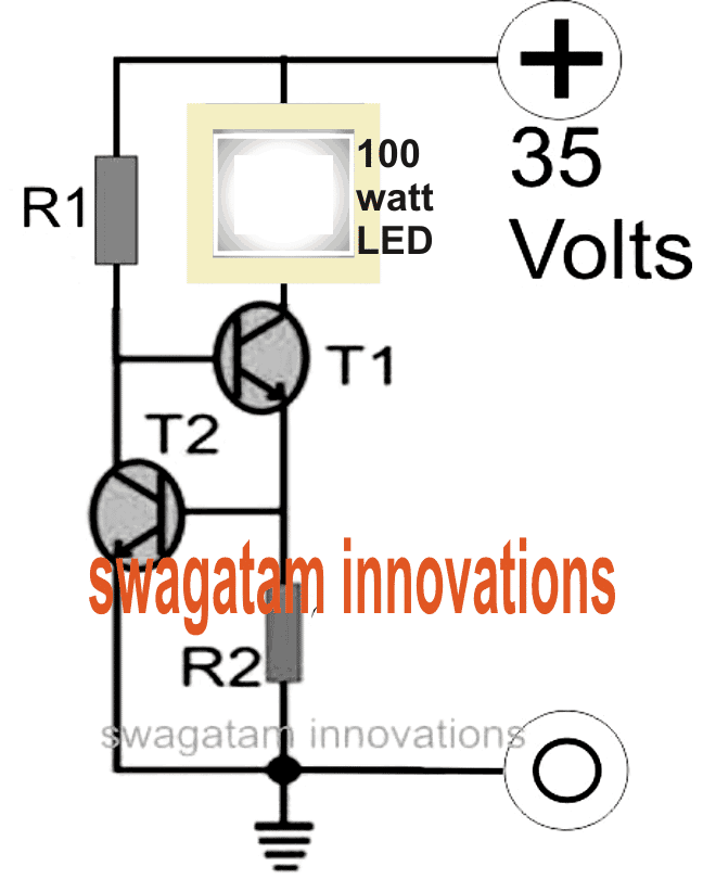 100 Watt LED Floodlight Constant Current Driver Circuit