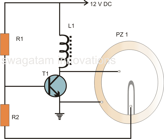simple buzzer circuit using a single BC547 transistor, piezo 27mm and an inductor