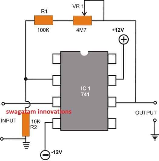 opamp Non-inverting DC Amplifier circuit