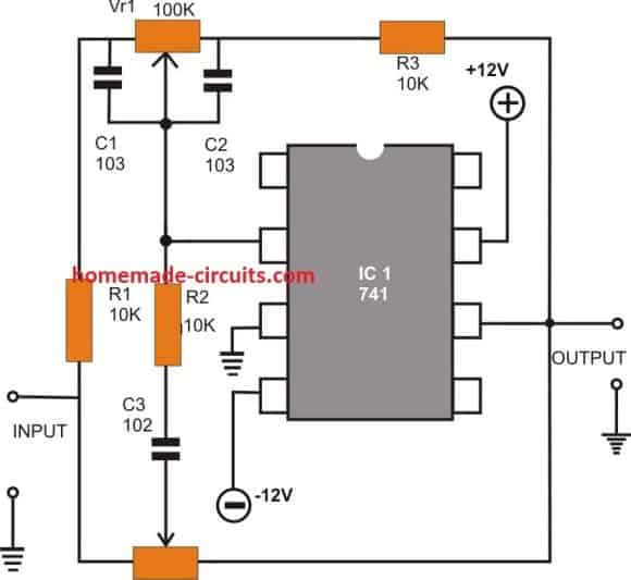 opamp741 Active Tone Control circuit