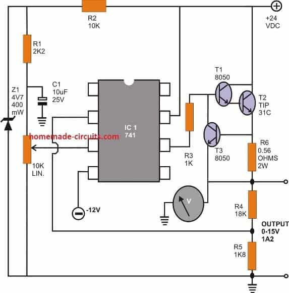 Regulated Power Supply Circuit Using opamp