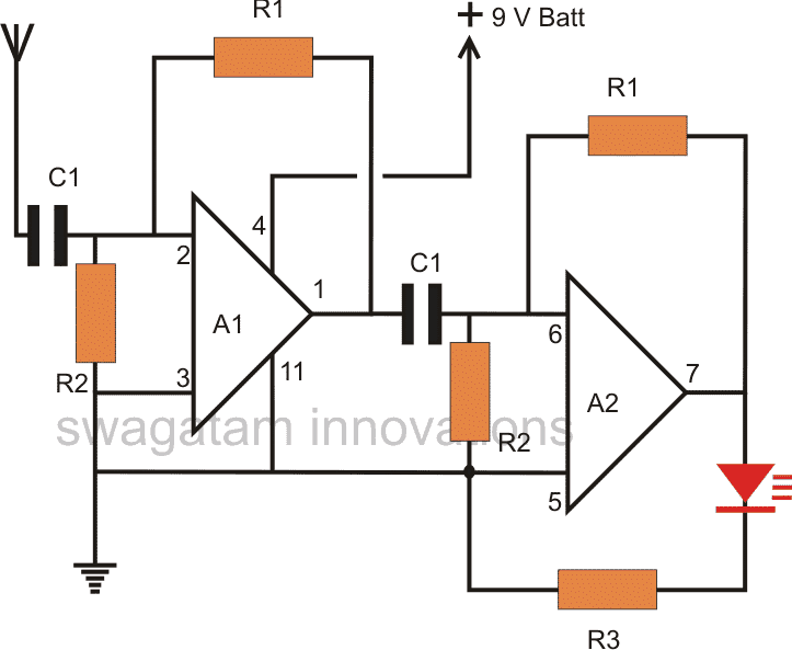 Non Contact AC Phase Fault Detector Circuit Diagram