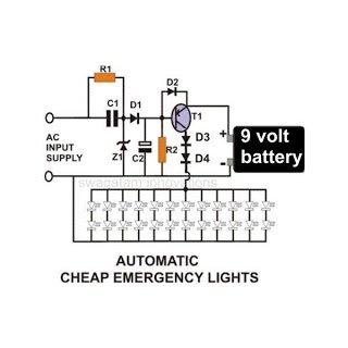 Transformerless LED Emergency Light Circuit