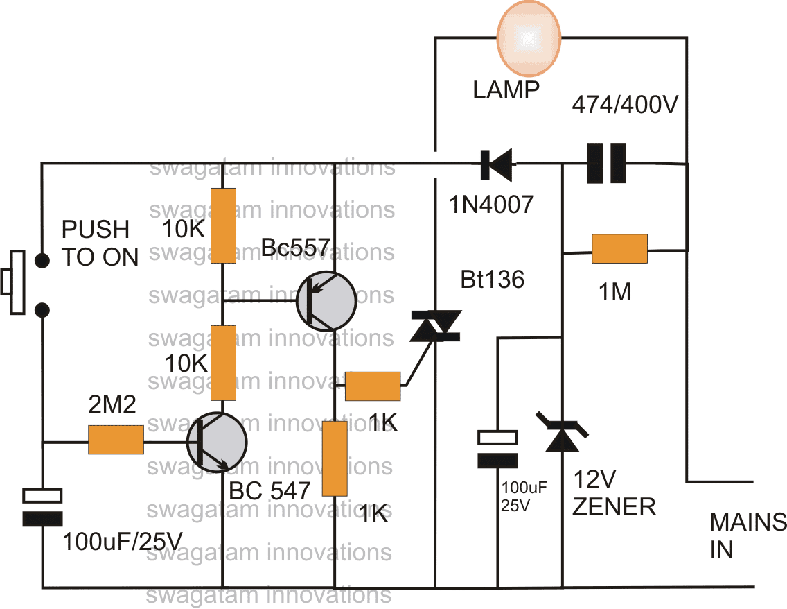 Bedroom Lamp Timer Using IC 741 Circuit Diagram