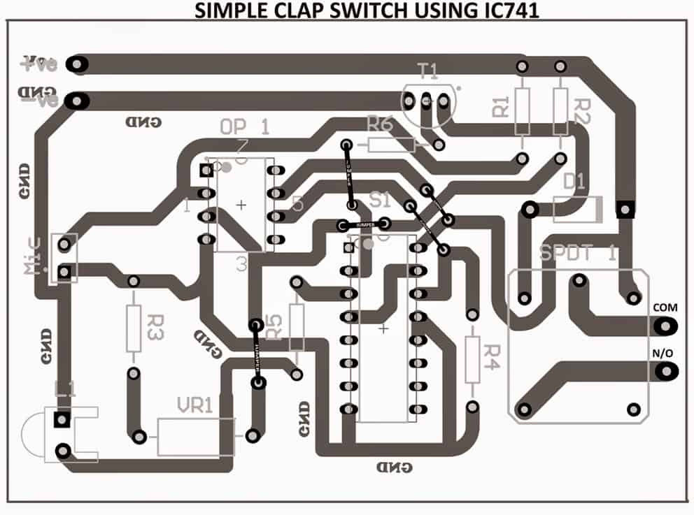 clap activated switch circuit PCB track side layout