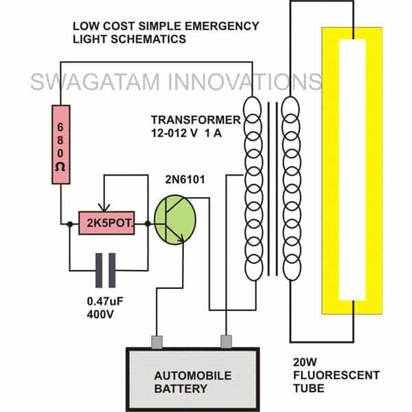 20 watt fluorescent tube emergency light homemade circuit projects circuit diagram diagram emergency 20 watt fluorescent lamp ccuart Image collections