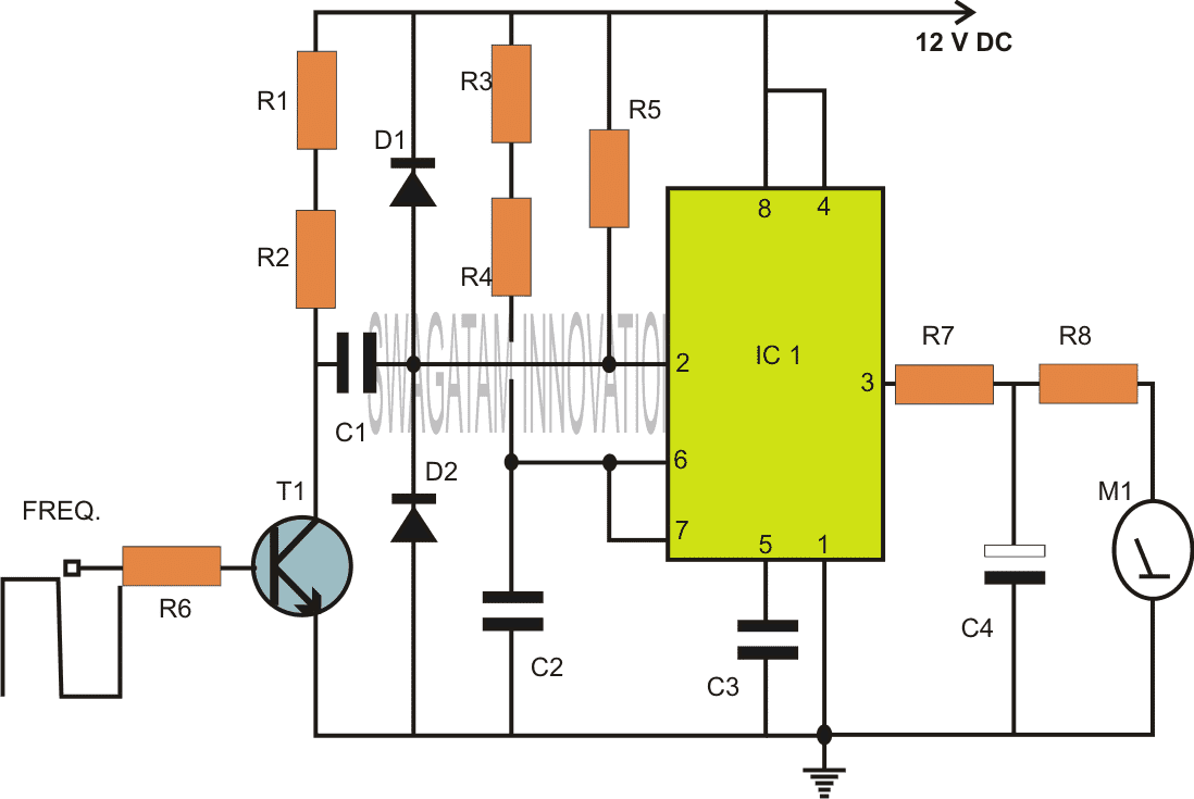 IC 555 based Frequency Meter Circuit Diagram