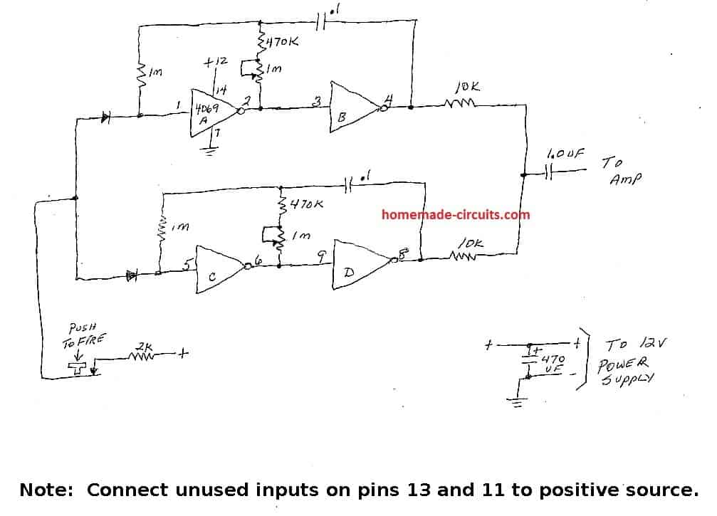 4049 IC based gun sound generator circuit