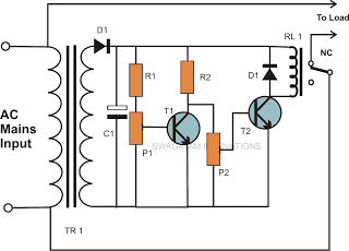 Transistorized Mains Over Voltage and Under Voltage Cut of Circuit