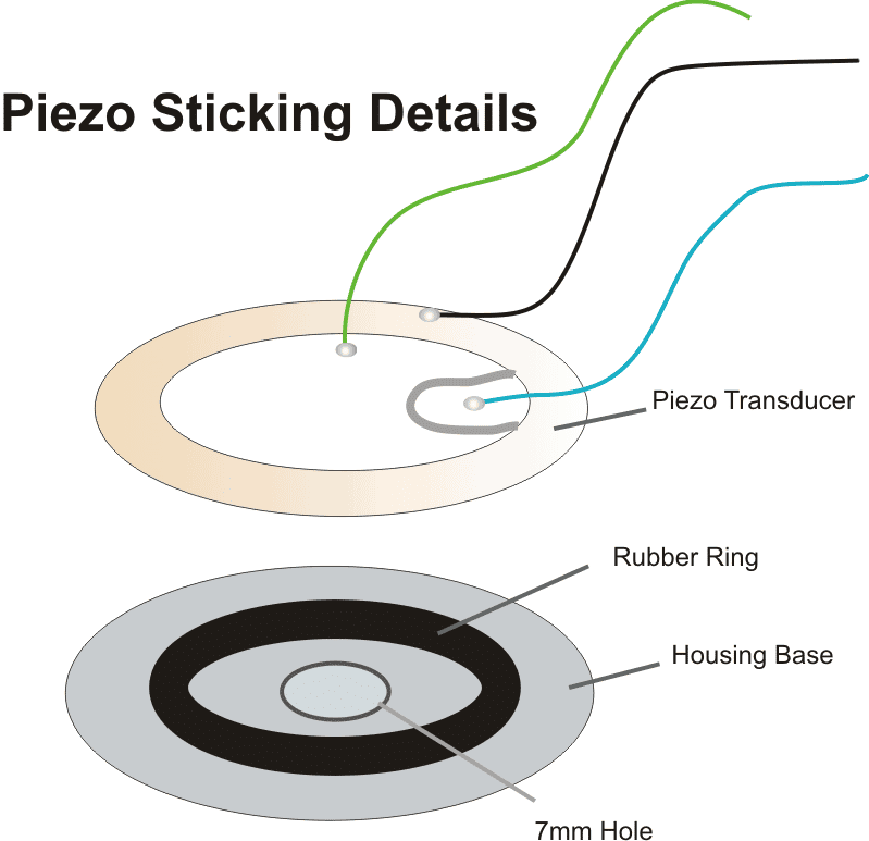 how to stick piezo transducer on a rubber ring and housing for maximum sound