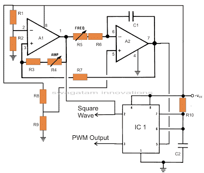 opamp TL072 based square wave and triangle wave modulation generator for IC 555