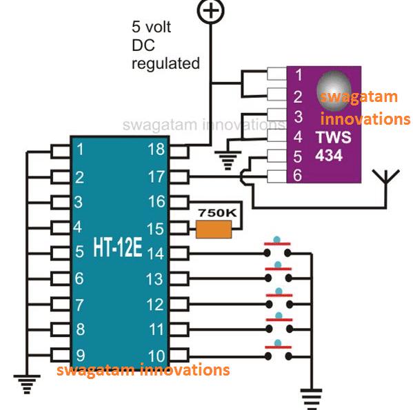433MHz RF Transmitter Module Pinout details