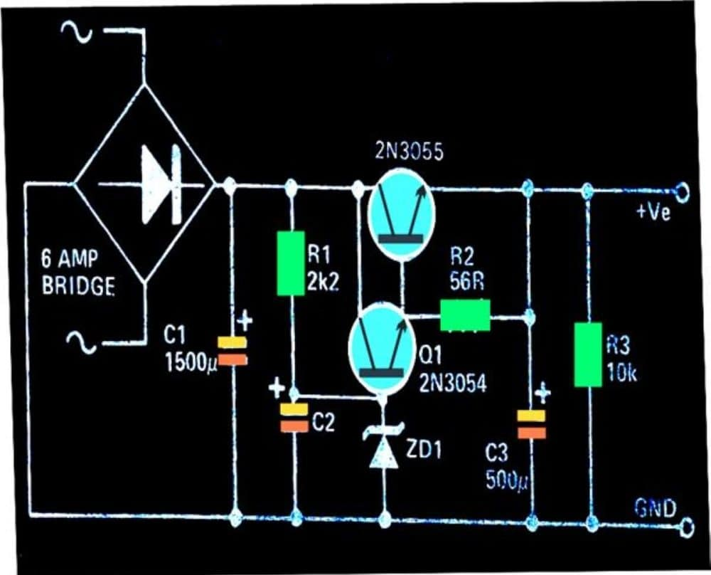 transistorized fixed voltage regulator circuit