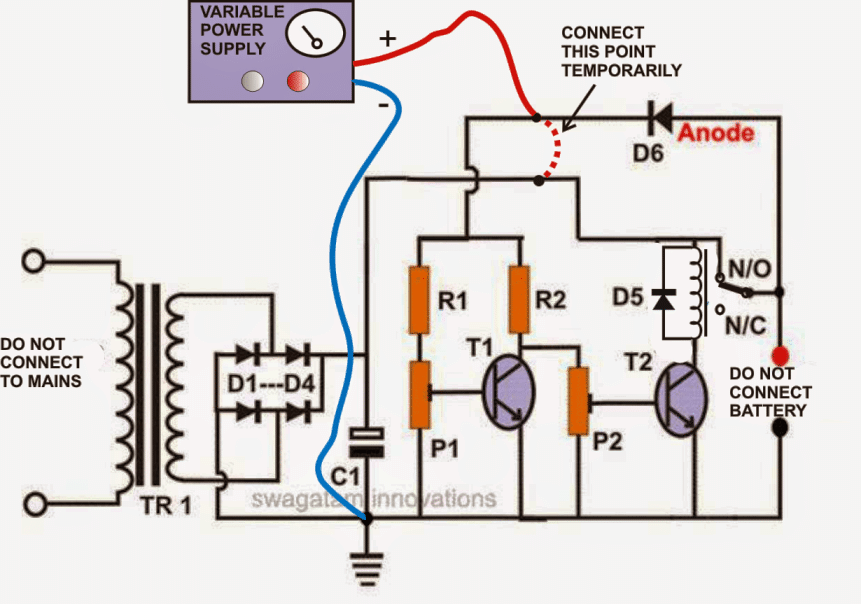 Self Regulating, Automatic Lead Acid Battery Charger Circuit
