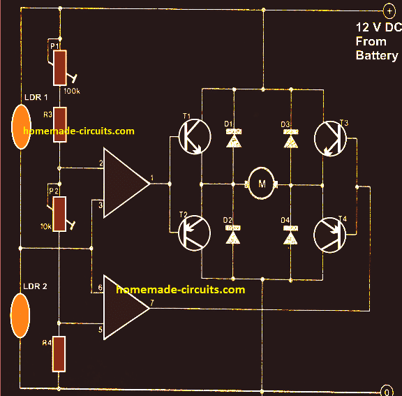 How the Solar Tracker OpAmp Control Circuit Functions