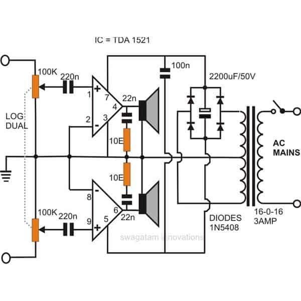 simple stereo audio amplifier circuit using ic 1521