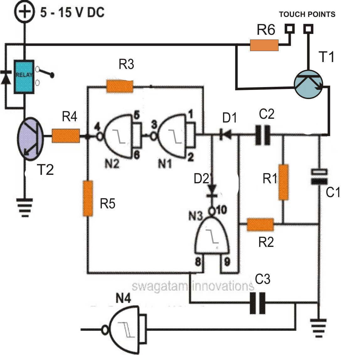 touch switch using Schmitt Trigger IC 4093
