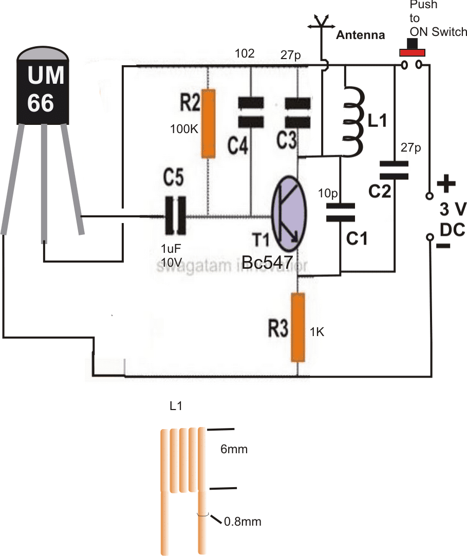 Transmitter circuit for homemade FM remote switch
