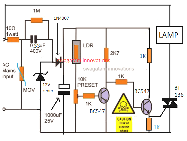 transformerless automatic night lamp circuit using triac