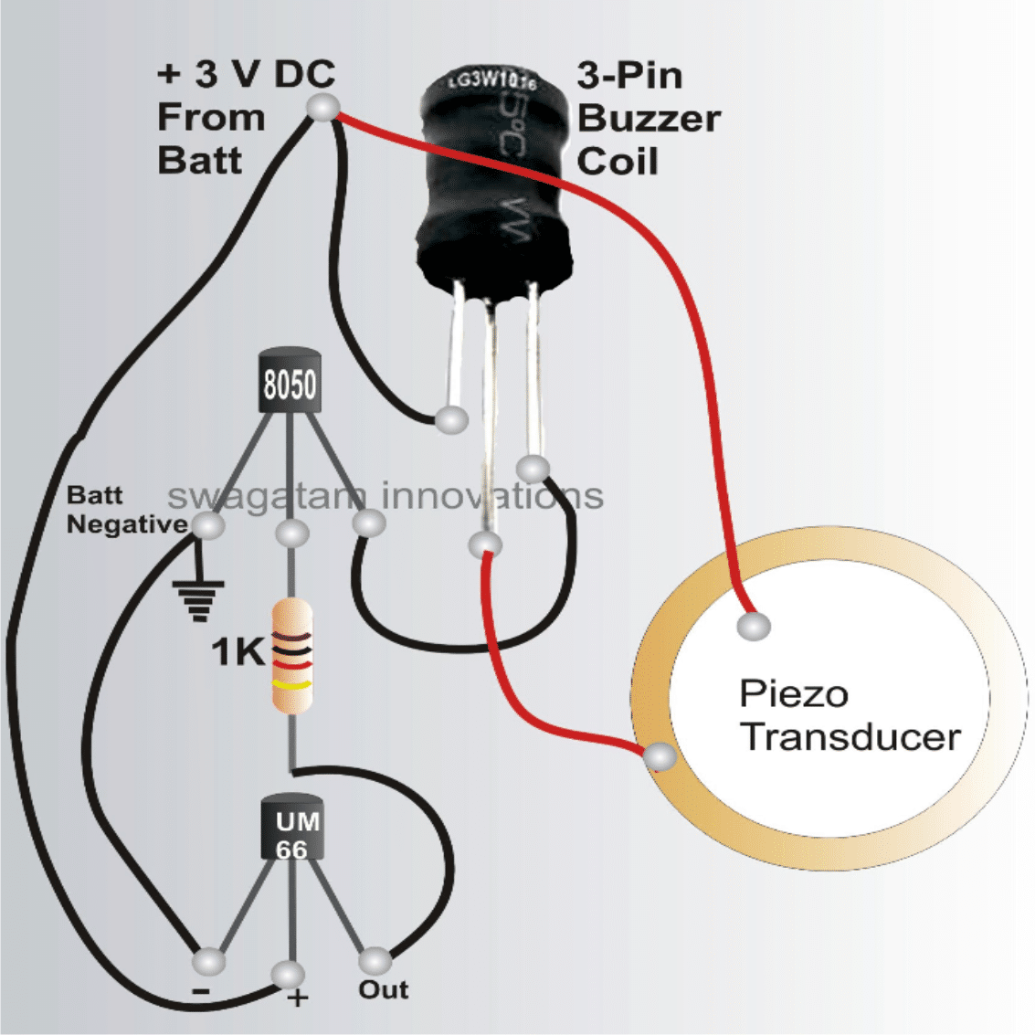 bicycle musical horn circuit using 27mm piezo transducer and UM66 tone generator