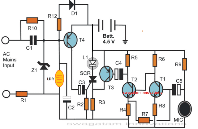 make an electronic candle at home circuit homemade circuit projectsreferring to the figure we can see that the transistor biasing resistor r11 is now replaced with an ldr in absence of light the ldr presents a very high