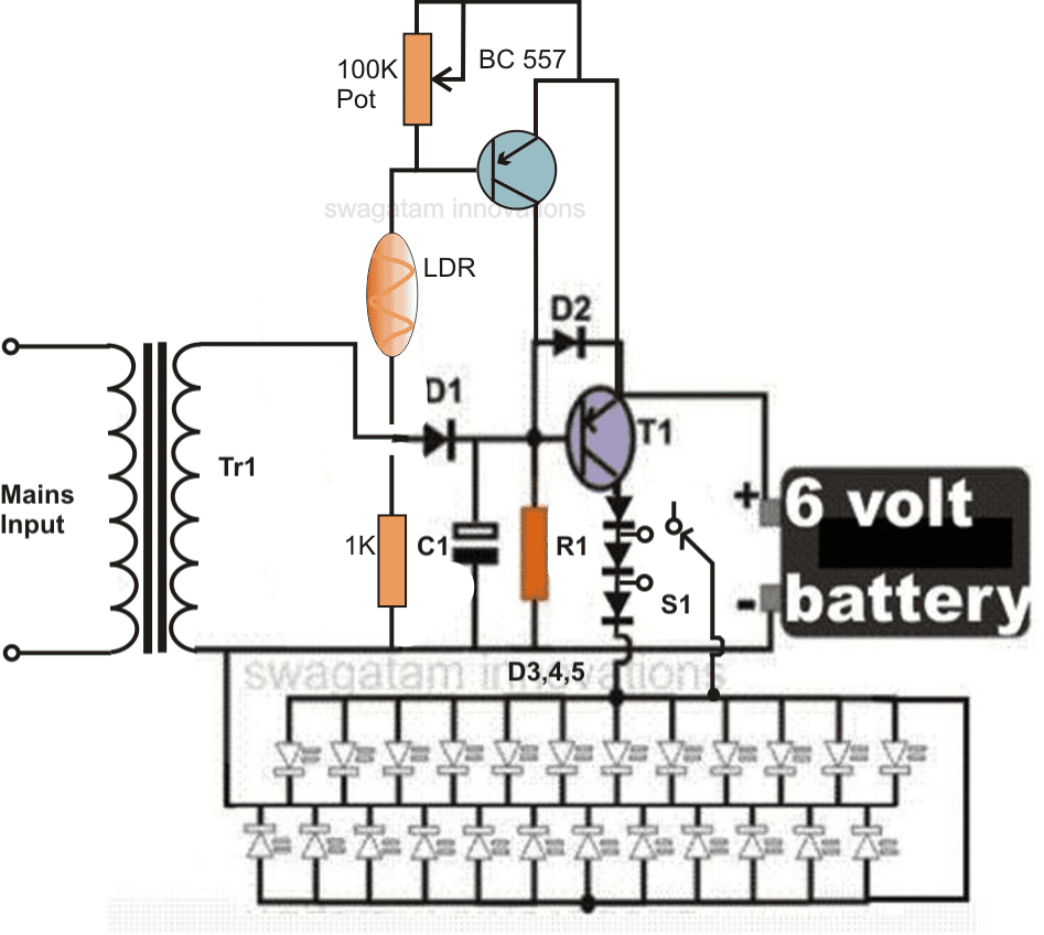 Cfl emergency light circuit diagram meganraley simple led emergency light circuit emergency lamp with inverter and cfl loads ccuart Choice Image