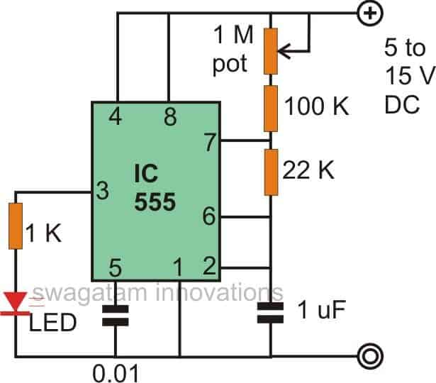Flashing Fading effect with IC 555 circuit