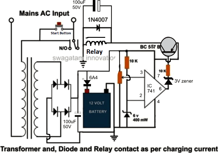 high current automatic cut off battery charger circuit