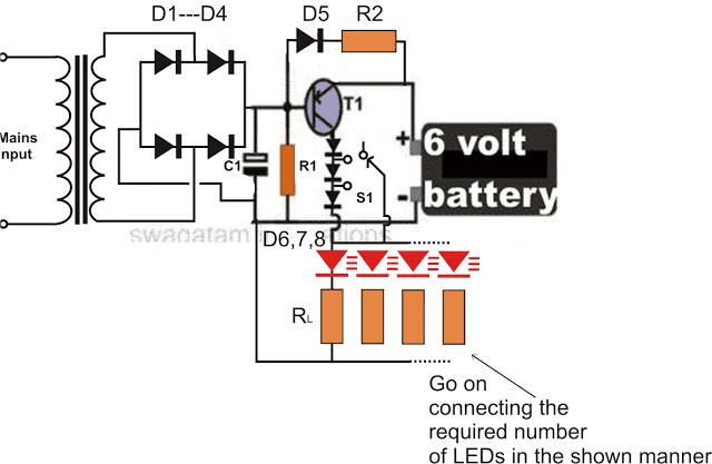 6V Emergency Light Circuit