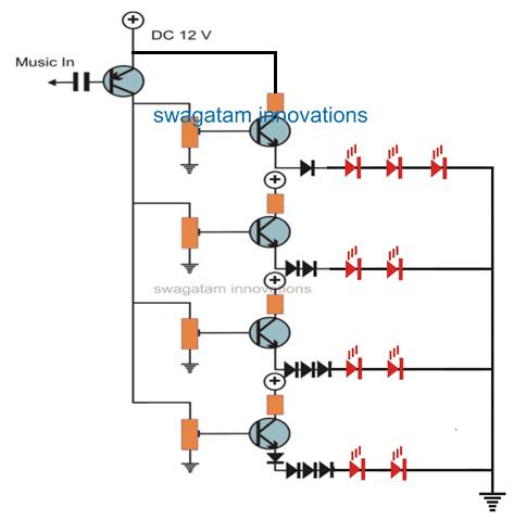 transistor multiple LED music level indicator circuit