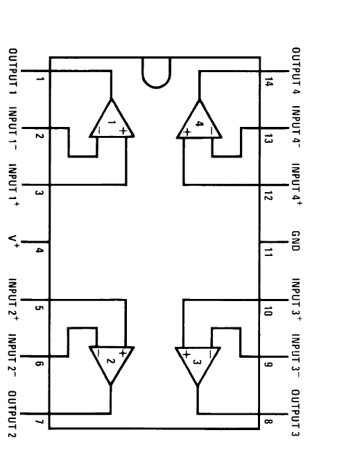 IC LM324 pinout diagram