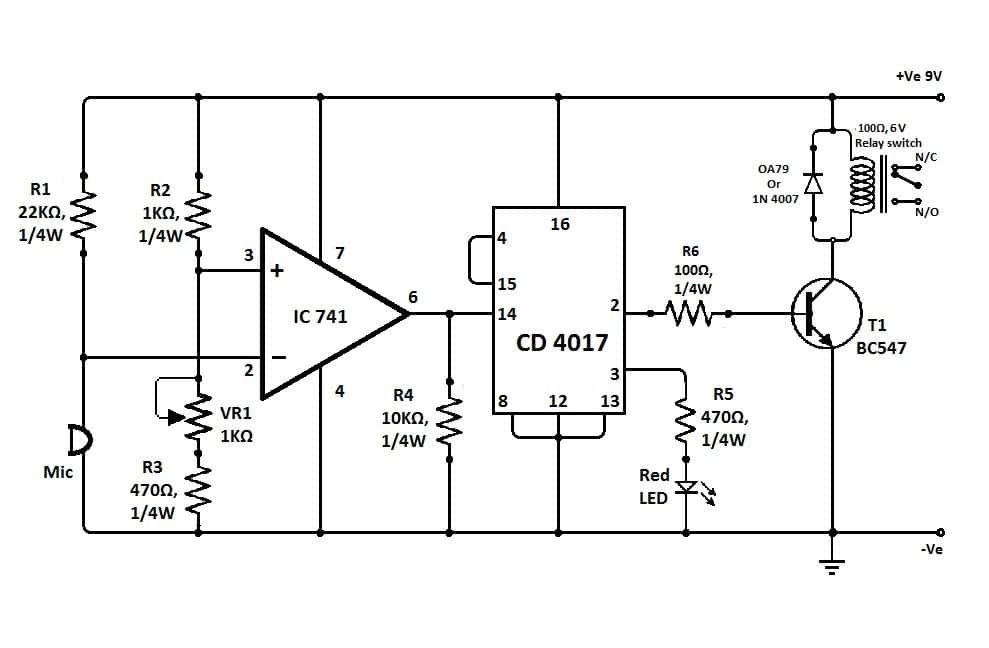 Clap Switch Circuit Using IC 741 Opamp