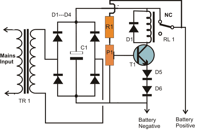 One transistor automatic battery charger homemade circuit projects circuit diagram battery charger using a single transistor and relay ccuart Gallery