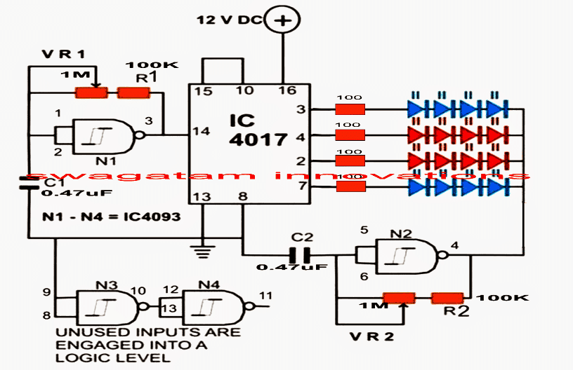 flashing + chasing strobe light using IC 4017 circuit