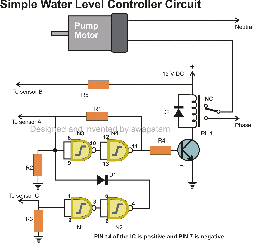 automatic water level controller circuit using IC 4093