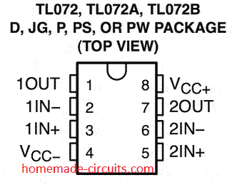 IC TL072 pinout details