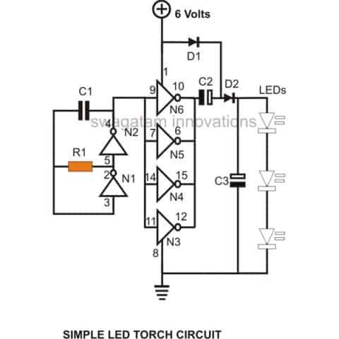 simple hi efficiency led torch rh homemade circuits com Electrical Wiring Diagram for Farmall 350 6 to 12 Volt Wiring On Farmall Tractors