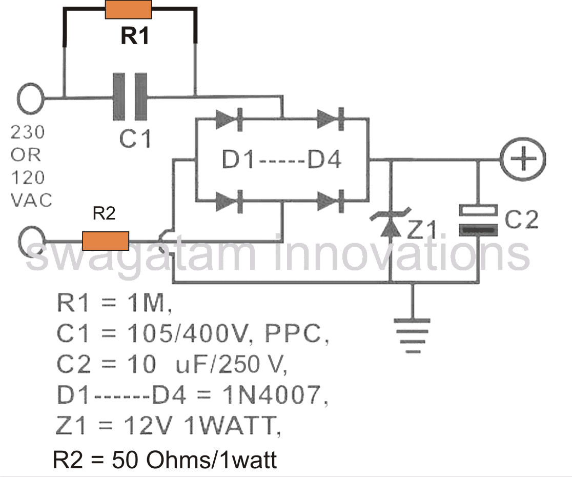 Calculate Resistor and Capacitor in Transformerless Power