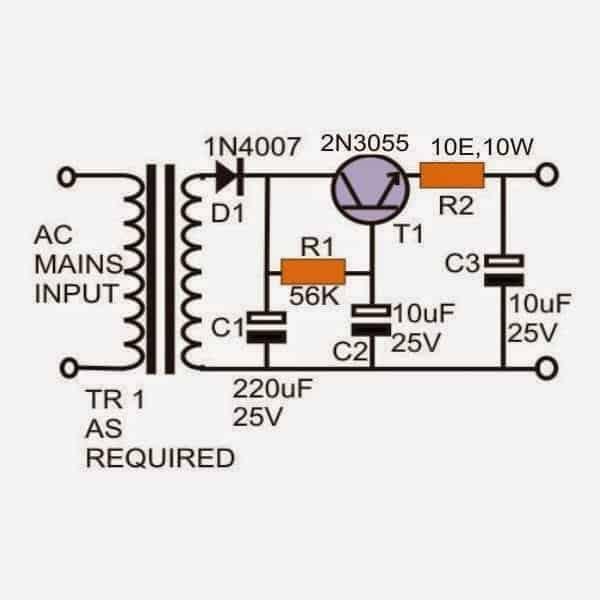 Hum free power supply circuit