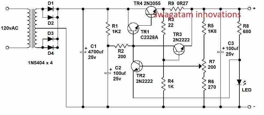 variable voltage  current power supply circuit using transistor 2n3055