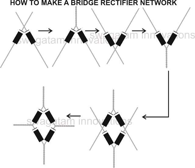 how to make bridge rectifier network using 1N4007 diodes