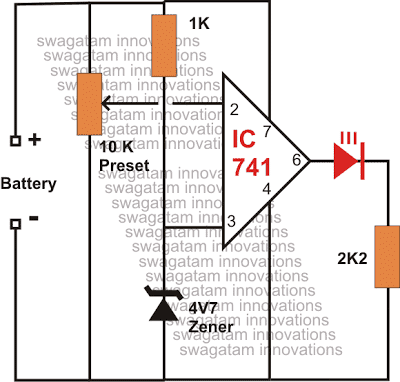 Low Battery Indicator Circuit Diagram Using IC 741