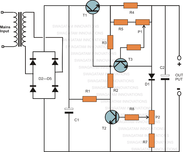 variable power supply circuit using transistor 2N3055