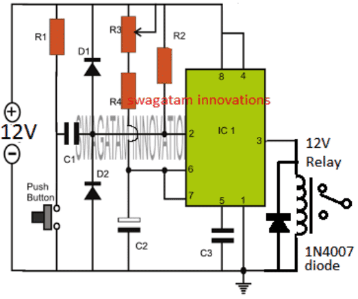 IC 555 Timer Circuit with Relay Switching