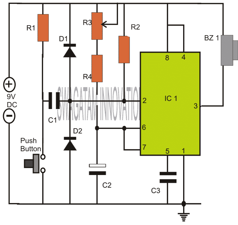 Simple Timer Circuits using IC 555 - Adjustable from 1 to 10
