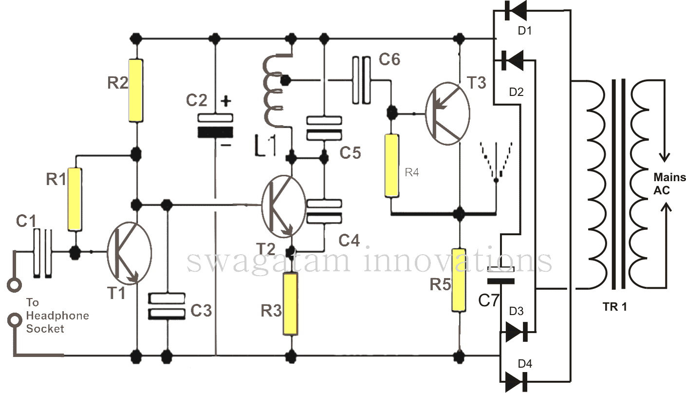 Wireless Loud Speaker Circuit Diagram